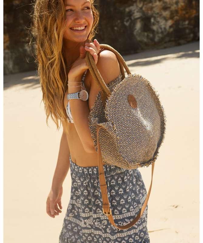 Navy Beach Round Bag